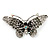 Black Crystal Butterfly Brooch (Silver Tone) - view 3