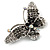 Black Crystal Butterfly Brooch (Silver Tone) - view 2