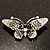 Black Crystal Butterfly Brooch (Silver Tone) - view 6