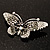 Black Crystal Butterfly Brooch (Silver Tone) - view 7
