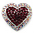 Silver Tone Dazzling Diamante Heart Brooch (Cherry & Iridescent Pink) - view 1