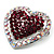 Silver Tone Dazzling Diamante Heart Brooch (Cherry & Iridescent Pink) - view 2