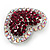 Silver Tone Dazzling Diamante Heart Brooch (Cherry & Iridescent Pink) - view 3