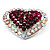 Silver Tone Dazzling Diamante Heart Brooch (Cherry & Iridescent Pink) - view 4