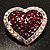 Silver Tone Dazzling Diamante Heart Brooch (Cherry & Iridescent Pink) - view 6
