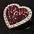 Silver Tone Dazzling Diamante Heart Brooch (Cherry & Iridescent Pink) - view 7