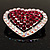 Silver Tone Dazzling Diamante Heart Brooch (Cherry & Iridescent Pink) - view 8