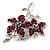 Magenta Swarovski Crystal Flower Brooch (Silver Tone) - view 4