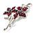Magenta Swarovski Crystal Flower Brooch (Silver Tone) - view 7