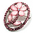 Daisy In The Oval Frame Pale Pink Crystal Brooch (Silver Tone) - view 2