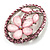 Daisy In The Oval Frame Pale Pink Crystal Brooch (Silver Tone) - view 8