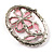 Daisy In The Oval Frame Pale Pink Crystal Brooch (Silver Tone) - view 4