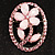 Daisy In The Oval Frame Pale Pink Crystal Brooch (Silver Tone) - view 5