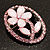 Daisy In The Oval Frame Pale Pink Crystal Brooch (Silver Tone) - view 6