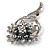 Bridal Ash Grey Faux Pearl Crystal Floral Brooch (Silver Tone) - view 3