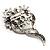 Bridal Ash Grey Faux Pearl Crystal Floral Brooch (Silver Tone) - view 5