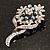 Bridal Ash Grey Faux Pearl Crystal Floral Brooch (Silver Tone) - view 6