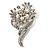 Bridal Snow White Faux Pearl Crystal Floral Brooch (Silver Tone) - view 3