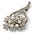 Bridal Snow White Faux Pearl Crystal Floral Brooch (Silver Tone) - view 4