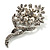 Bridal Snow White Faux Pearl Crystal Floral Brooch (Silver Tone) - view 1