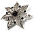 Delicate Black Diamante Filigree Floral Brooch (Silver Tone) - view 2