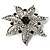 Delicate Black Diamante Filigree Floral Brooch (Silver Tone) - view 3