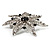 Delicate Black Diamante Filigree Floral Brooch (Silver Tone) - view 4
