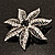Delicate Black Diamante Filigree Floral Brooch (Silver Tone) - view 6