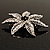 Delicate Black Diamante Filigree Floral Brooch (Silver Tone) - view 8
