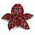 Large Ruby Red Coloured Diamante Floral Brooch/ Pendant (Gun Metal Finish)