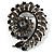 Oversized Slate Black Crystal Twirl Brooch/ Pendant (Gun Metal Finish)