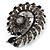 Oversized Slate Black Crystal Twirl Brooch/ Pendant (Gun Metal Finish) - view 2