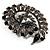 Oversized Slate Black Crystal Twirl Brooch/ Pendant (Gun Metal Finish) - view 3