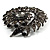 Oversized Slate Black Crystal Twirl Brooch/ Pendant (Gun Metal Finish) - view 6
