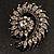 Oversized Slate Black Crystal Twirl Brooch/ Pendant (Gun Metal Finish) - view 8
