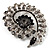 Oversized Dim Grey Crystal Twirl Brooch/ Pendant (Silver Metal Finish) - view 4