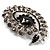 Oversized Dim Grey Crystal Twirl Brooch/ Pendant (Silver Metal Finish) - view 5