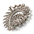 Oversized Dim Grey Crystal Twirl Brooch/ Pendant (Silver Metal Finish) - view 6