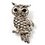 Clear Diamante Owl Brooch/ Pendant (Silver Tone) - view 1