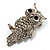 Clear Diamante Owl Brooch/ Pendant (Silver Tone) - view 3