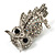 Clear Diamante Owl Brooch/ Pendant (Silver Tone) - view 5