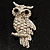 Clear Diamante Owl Brooch/ Pendant (Silver Tone) - view 2