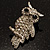 Clear Diamante Owl Brooch/ Pendant (Silver Tone) - view 4