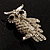 Clear Diamante Owl Brooch/ Pendant (Silver Tone) - view 7