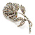 Vintage Iridescent Rose Brooch (Silver Tone) - view 6