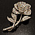 Vintage Iridescent Rose Brooch (Silver Tone) - view 2