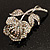 Vintage Iridescent Rose Brooch (Silver Tone) - view 9