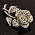 Vintage Iridescent Rose Brooch (Silver Tone) - view 4
