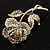Vintage Iridescent Rose Brooch (Silver Tone) - view 5