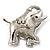Rhodium Plated Crystal Elephant Brooch